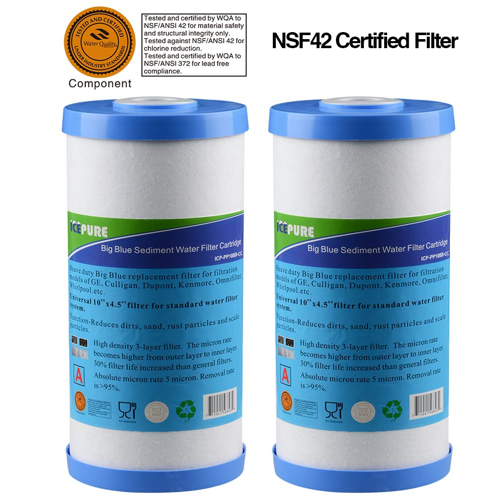 """GOLDEN ICEPURE Whole House Heavy Duty Sediment +Carbon Combinated Water Filter 10"""""""