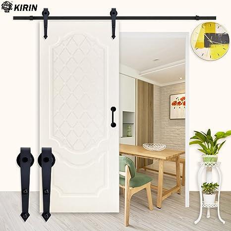 KIRIN - Kit de rieles deslizantes para puerta corredera interior y polea con forma de flecha para una sola puerta: Amazon.es: Bricolaje y herramientas