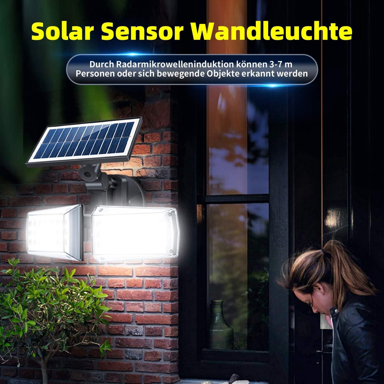 42 LEDs Solarleuchte Aussen mit 3 Modi BENMA Solarlampen f/ür Au/ßen mit Bewegungsmelder IP65 Wasserdichte 360/° Frei Einstellbar Solar Wandleuchte f/ür Garten