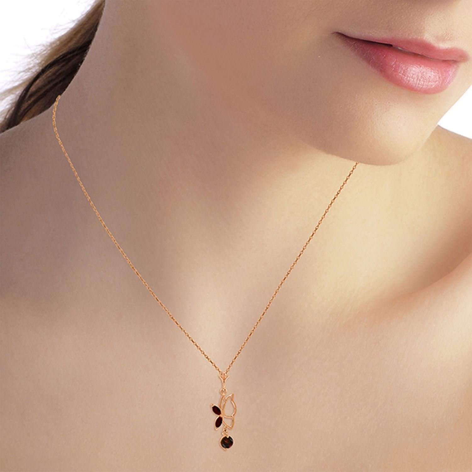 ALARRI 14K Solid Rose Gold Butterfly Necklace w// Garnets with 22 Inch Chain Length