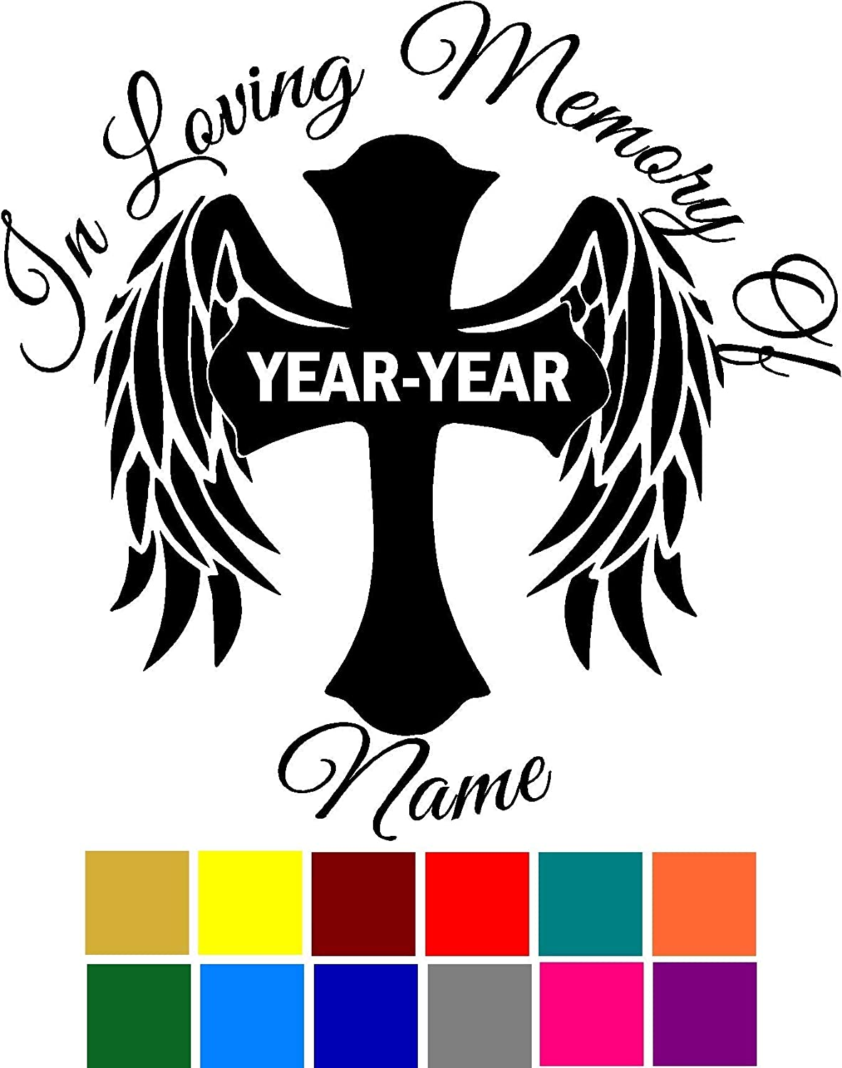 In Loving Memory Of Name Cross Heart Custom Customize Decal Sticker Vinyl Car Window Tumblers Wall Laptops Cellphones Phones Tablets Ipads Helmets Motorcycles V and T Gifts