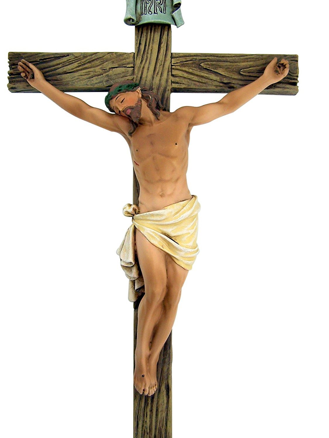 Jesus Nailed On The Cross 14 Inch Resin Stone Wall Cross Crucifix