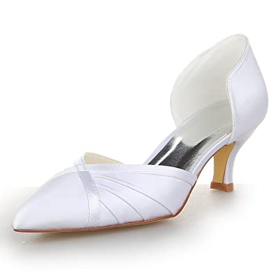 bacbc0777265e JIA JIA Women s Bridal Shoes 5355 Pointed Toe Low Heel Satin Pumps Ruffles  Wedding Shoes Colour