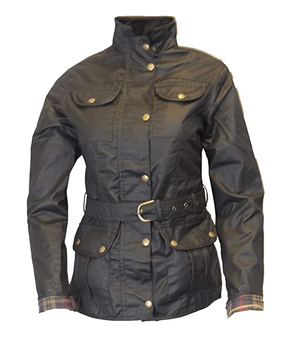 Chaqueta encerada de Walker and Hawkes con cinturón para damas, con 4 bolsillo (color negro): Amazon.es: Ropa y accesorios