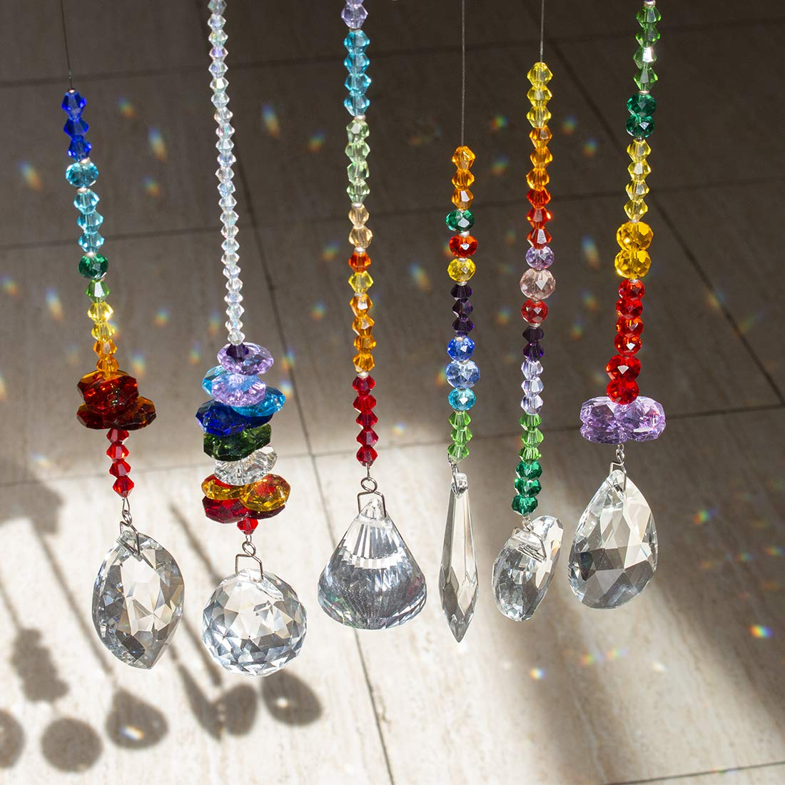 H/&D Colorful Crystals Glass Pendants Chandelier Suncatchers Prisms Hanging Ornament Octogon Chakra Crystal Pendants for Home,Office,Garden Decoration,Pack of 6