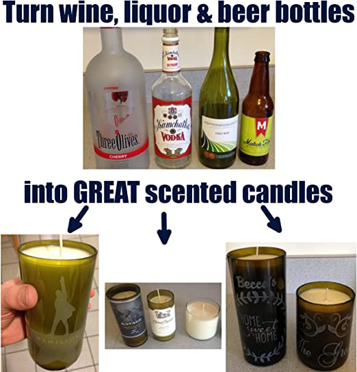 Make Holiday 100/% Soy Candles of Wine Bottles Christmas Candle Making Craft Kit