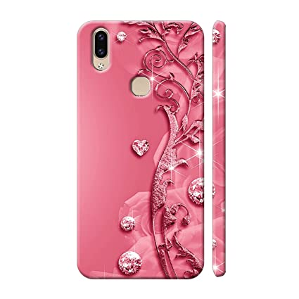 new concept 50f30 2ea5f Clapcart Vivo V9 Designer Printed Back Cover for Vivo V9 - Pink Color  (Heart Design Print for Girls)