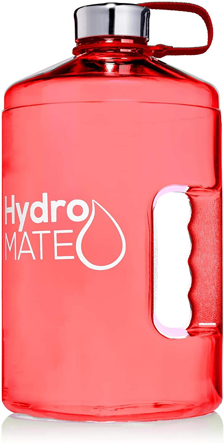 HydroMATE 1 Gallon Motivational Water Bottle with Time Marker Large BPA Free Jug with Handle Reusable Leak Proof Bottle Time Marked to Drink More Water Hydro MATE 128 oz