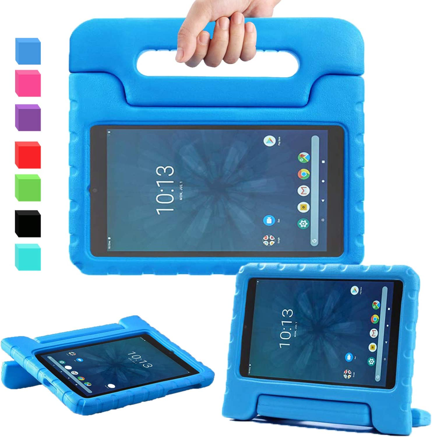 """AVAWO for Walmart Onn 8"""" Kids Case, Light Weight Shock Proof Convertible Handle Stand Kids Friendly Case for Walmart Onn 8inch Android Tablet (2019 Release), Blue"""