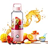 Portable Juice Blenders for Smoothie USB Rechargeable Mini Juicer Machines Extractor Household Fruit Mixer Small Cup 16oz Personal Travel Outdoors (Pink)