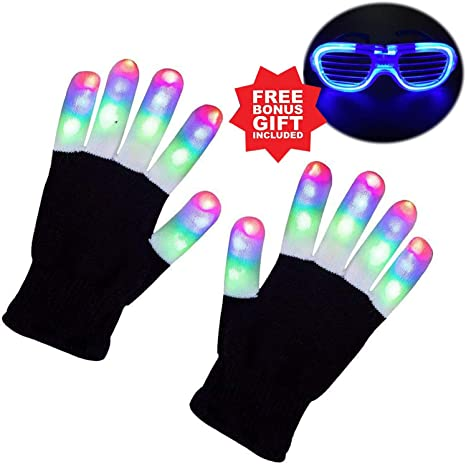 Child Kids LED Finger Flashing Gloves Light Up Halloween Xmas Dance Rave Party