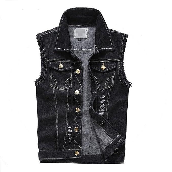 93faeeb317cd T-Senr Mens Vest Fashion Cotton Cowboy Sleeveless Denim Waistcoat Slim  Short Style Black S