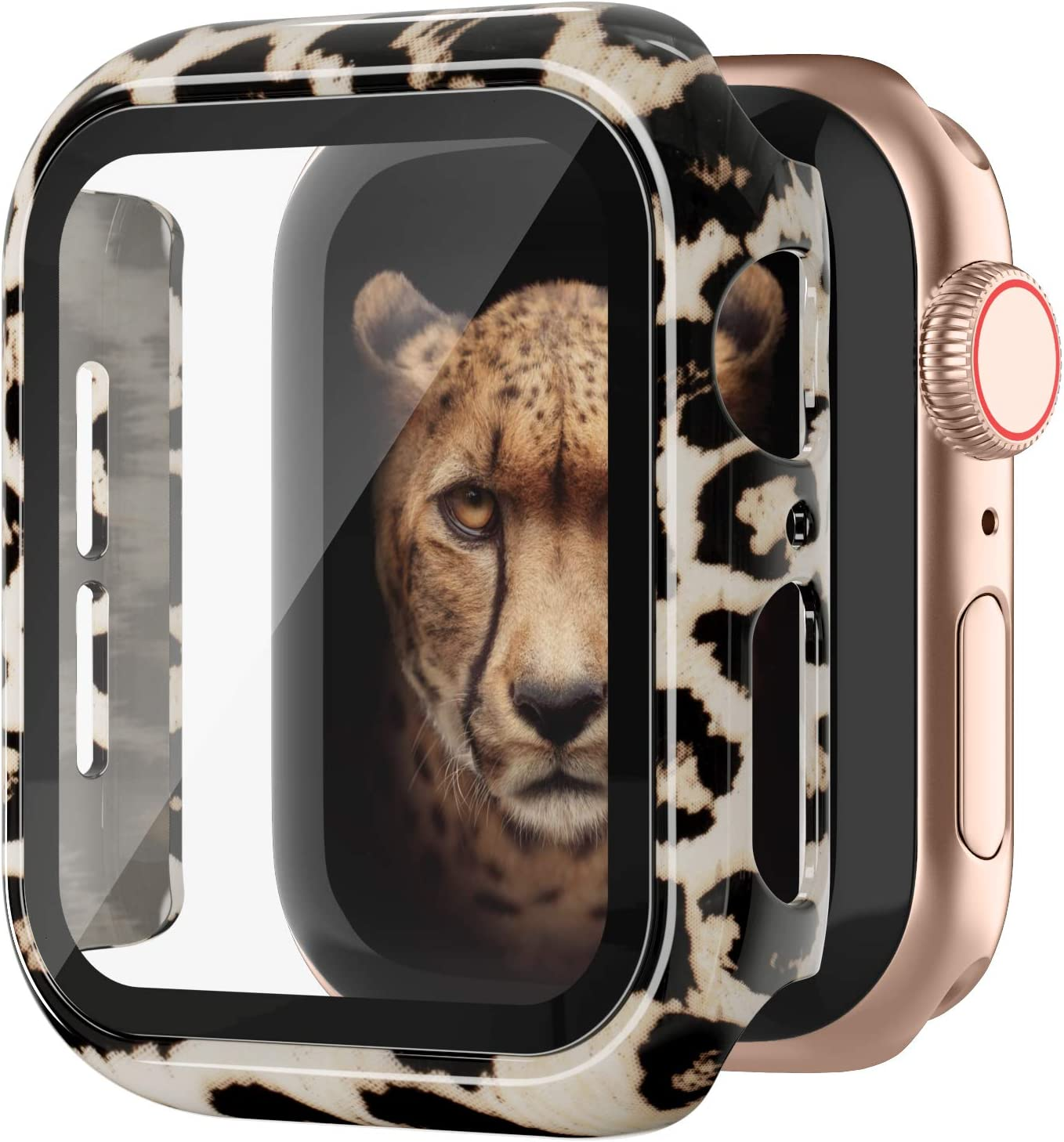 Goosehill Compatible Apple Watch Case 40mm Series 6/5/4/SE with Tempered Glass Screen Protector, Full Cover Ultra-Thin Hard PC Bumper Fashion Leopard Protective Case for Women Girls iWatch