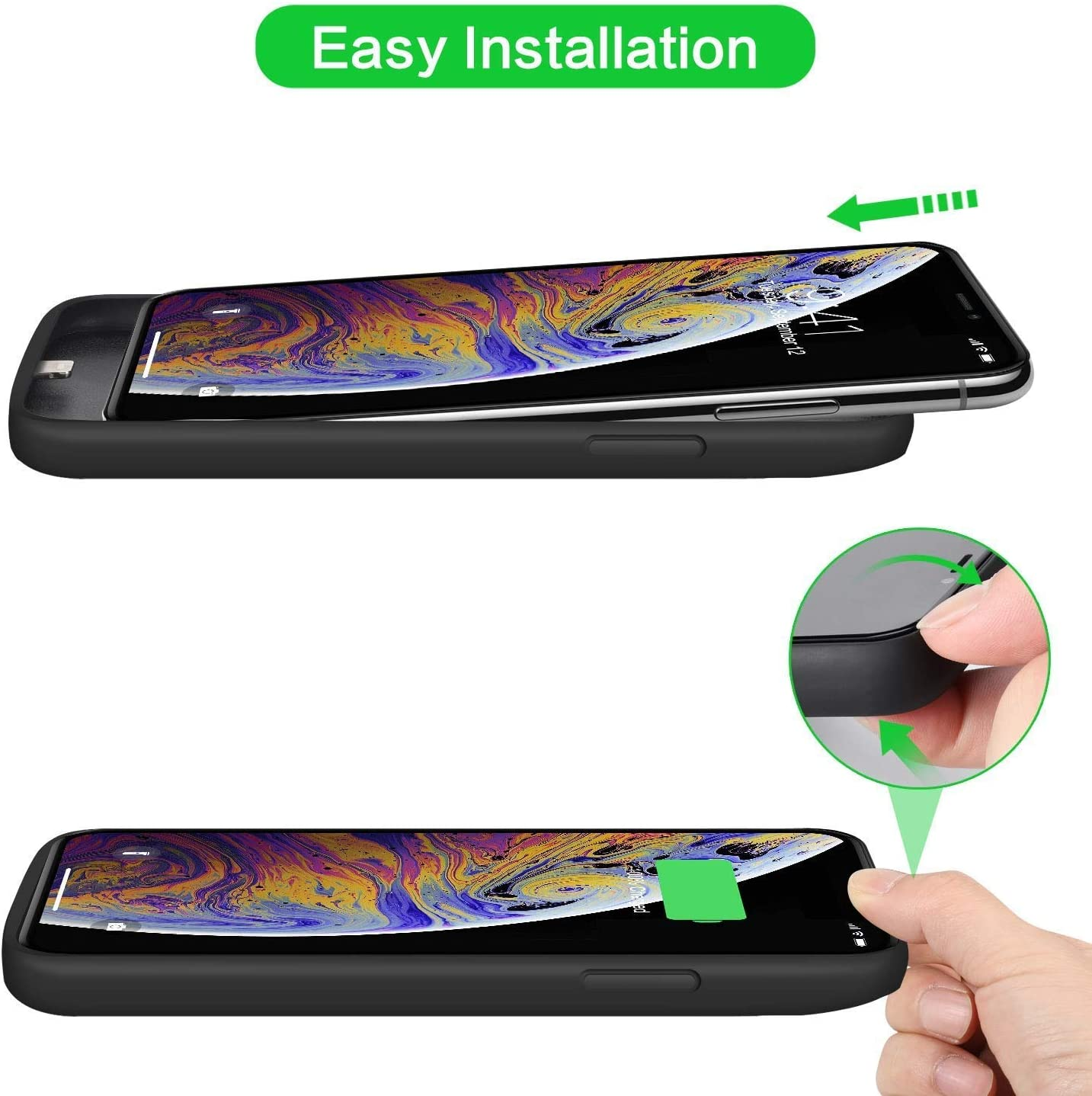 Coque batterie pour iPhone X/XS/10, 6500 mAh mise à niveau rechargeable Coque de chargement étendue pour iPhone XS Coque de protection pour téléphone ...