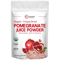 Organic Pomegranate Juice Powder, 1 Pound (16 Ounce), Freeze Dried & Cold Pressed...