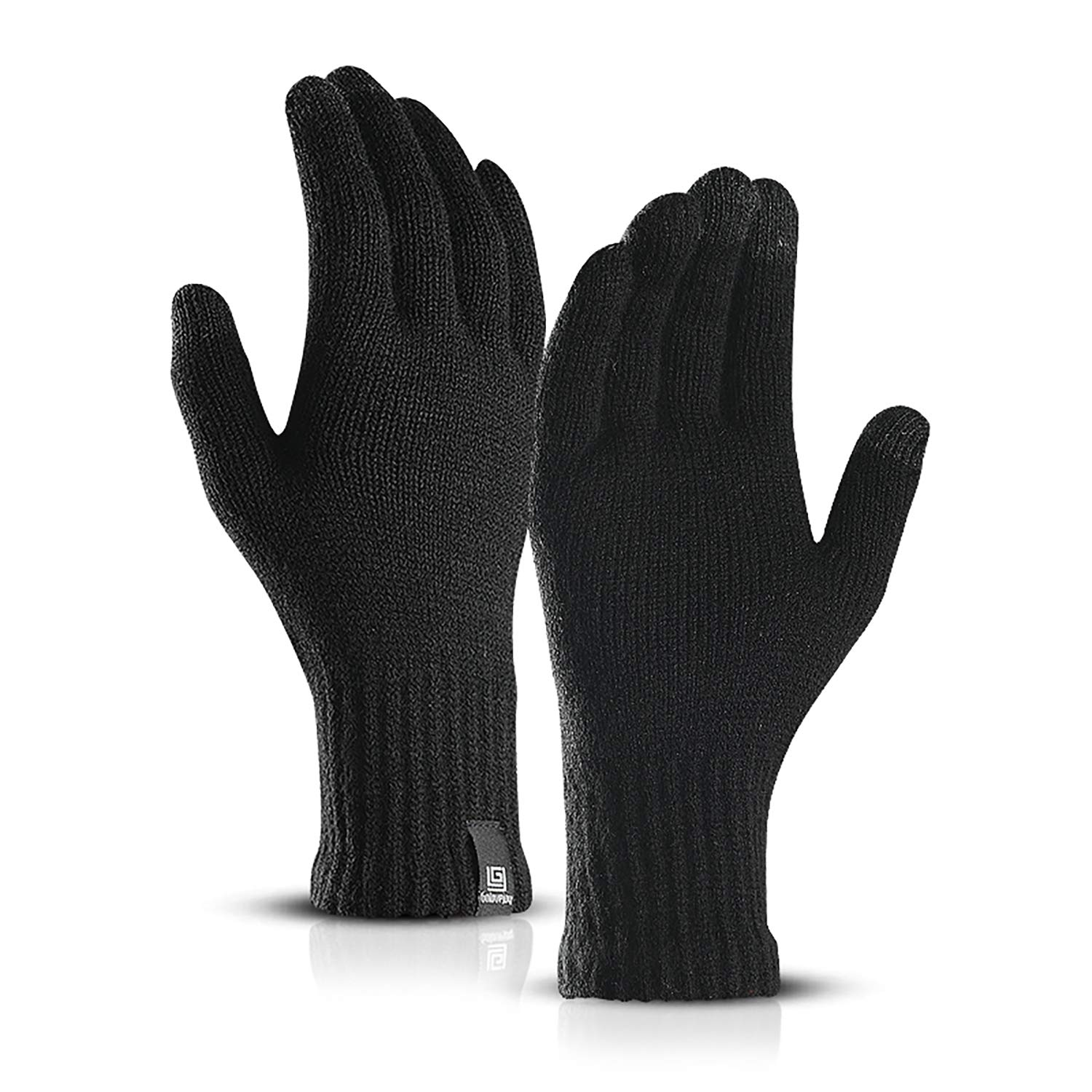 Anqier Knit Gloves, Winter Thick Warm Liner Gloves Windproof With Three Fingers Touch Screen For Men & Women Free Size. (Black)