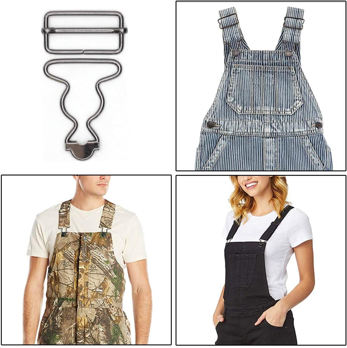 Enosea 6 Sets Overall Buckles Replacement Dungaree Fastener Suspender Buckle with Slider 1.5 inch