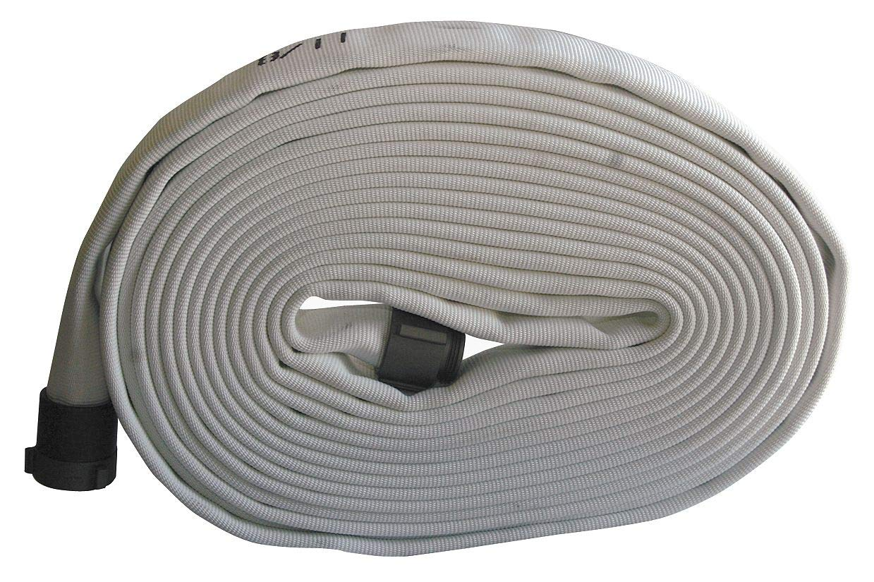 Armored Textiles Wildland Fire Hose, Single Jacket, 1-1/2'' Hose Inside Dia, 100 ft, White - G55H15F100N