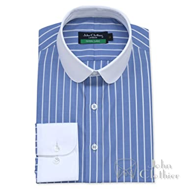 fashion style of 2019 footwear stylish design Mens Penny Collar Bankers Shirt Blue White Stripes 100 ...
