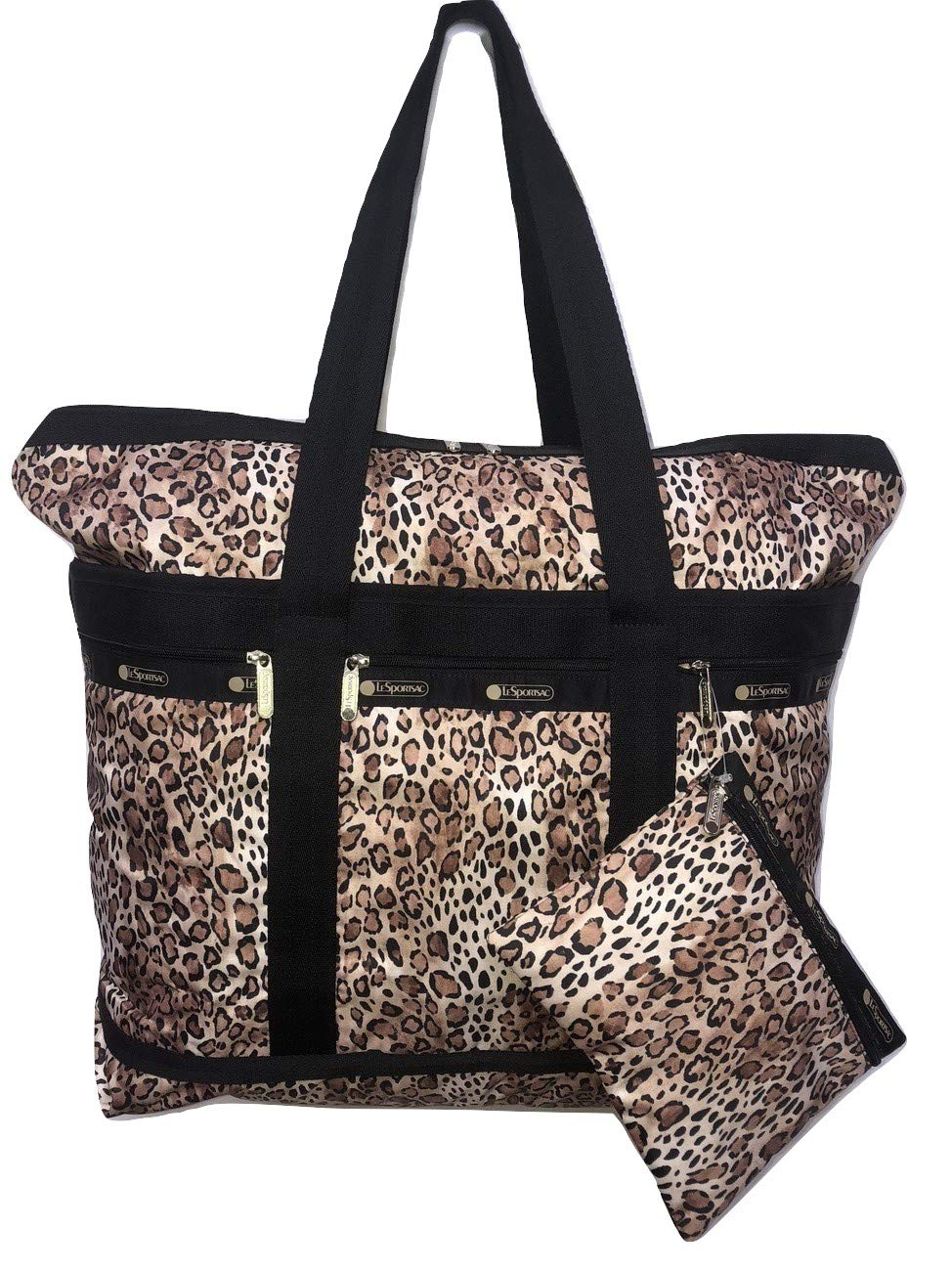 LeSportsac Ombre Cheetah Travel Tote + Matching Cosmetic Bag (metallic trim)