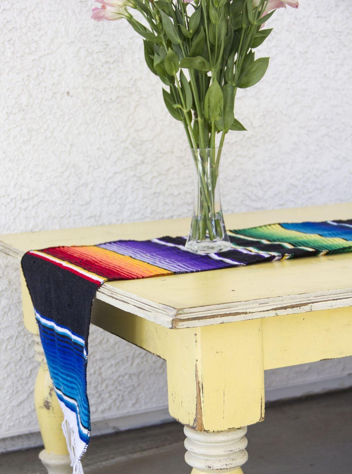 Del Mex (TM) Mexican Serape Blanket Table Runner (Black)