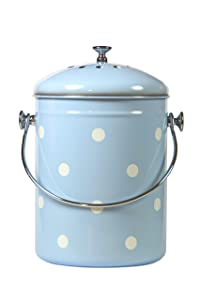 Kitchen Compost Bin Blue White Polka Dots By Mount Delectable | 1.3 Gallon/5 Liter | Stainless Steel | Charcoal Filter