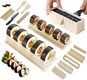 Bemecato Sushi Making Kit, With Sushi Knife & Bamboo Sushi Rolling Mat, 16 Pcs All-In-One Sushi Maker Tools, Sets With 8 Sushi Roll Mold Shapes, for Beginners and Professional DIY at Home