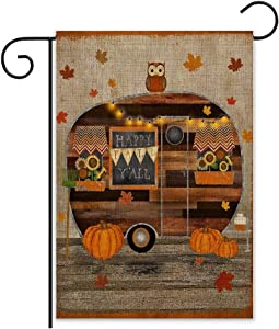 YBB Welcome Fall Thanksgiving Burlap Garden Flag, Double Sided 12 x 18 Inch Vertical Pumpkin Decorative Fall Autumn Harvest House Flags for Home Indoor Yard Outdoor Halloween Thanksgiving Decor