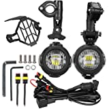 LED Faros Adicionales de Moto Luz Antiniebla 6000 K 40 W 3000 lm para Moto + Arnés de cables y Escudo