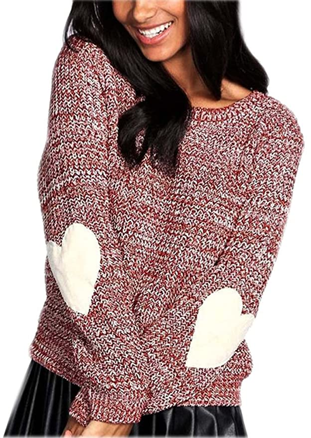 Damen Pullover Pullis Arm Warm Lose Herz Form Casual Mantel