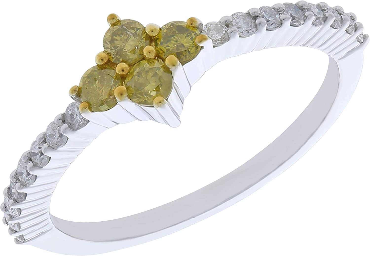 Prism Jewel 0.50Ct Yellow Diamond With Natural Diamond Stylist Ring 925 Sterling Silver