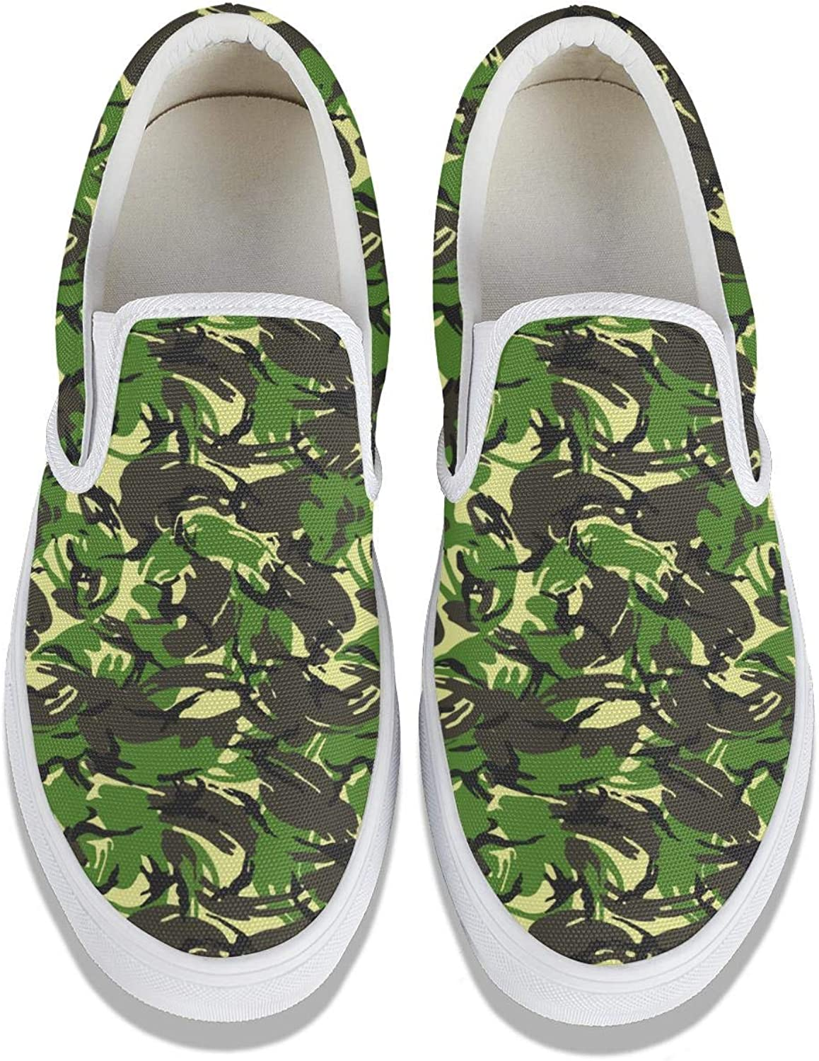 SEERTED Camo Camouflage Shoes Slip-On Cool Sneakers for Womens Print White