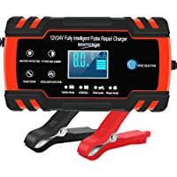 Car Battery Charger 12V/8A 24V/4A Automatic Smart Battery Charger/Maintainer with LCD Display Pulse Repair Charger…