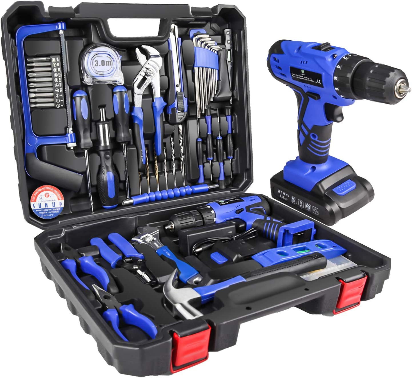 LETTON Power Tools Combo Kit with Professional Household Hand Tools Drill Set with 21V Lithium Power Tool for Home Cordless Repair Tool Kit Set (Blue)