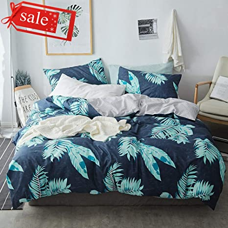 DaLove New Striped Geometric Printed Duvet Cover Sets Toddler Adults Soft Bedding Collections Durable Skin-Friendly 200 Thread Count Tropical Queen Full Bedding Sets for Children 4 Corner Ties