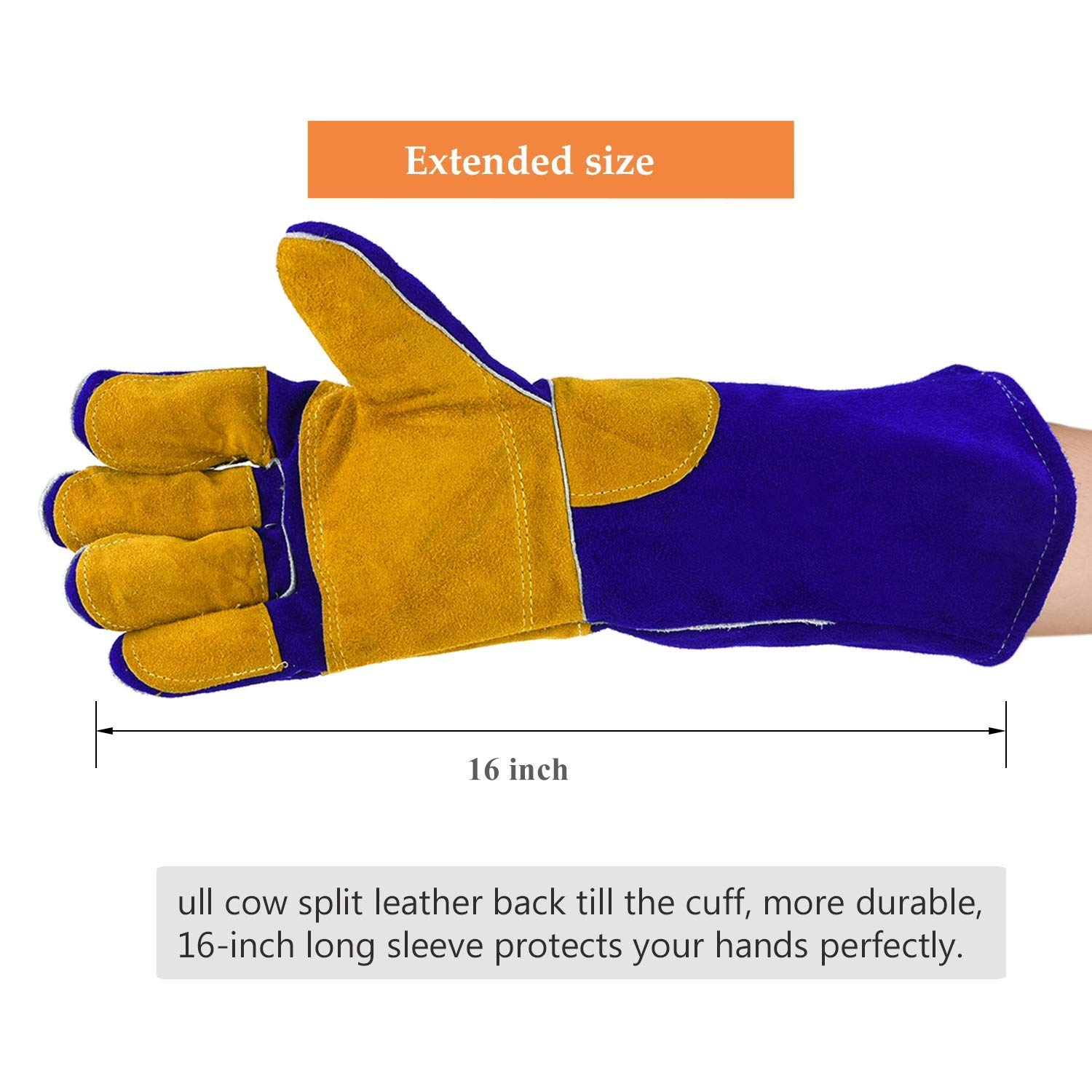 AINIYF Heavy Duty Heat Resistant & Flame Retardant Welding & BBQ Gloves, Premium Cowhide Leather, Long 15.7 Inch Forearm Protection, Blue, Size Large by AINIYF (Image #4)