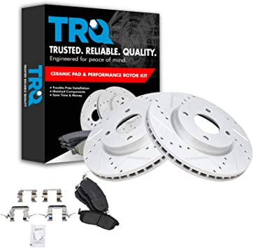 Front Ceramic Brake Pad /& Performance Drilled Slotted Coated Rotors