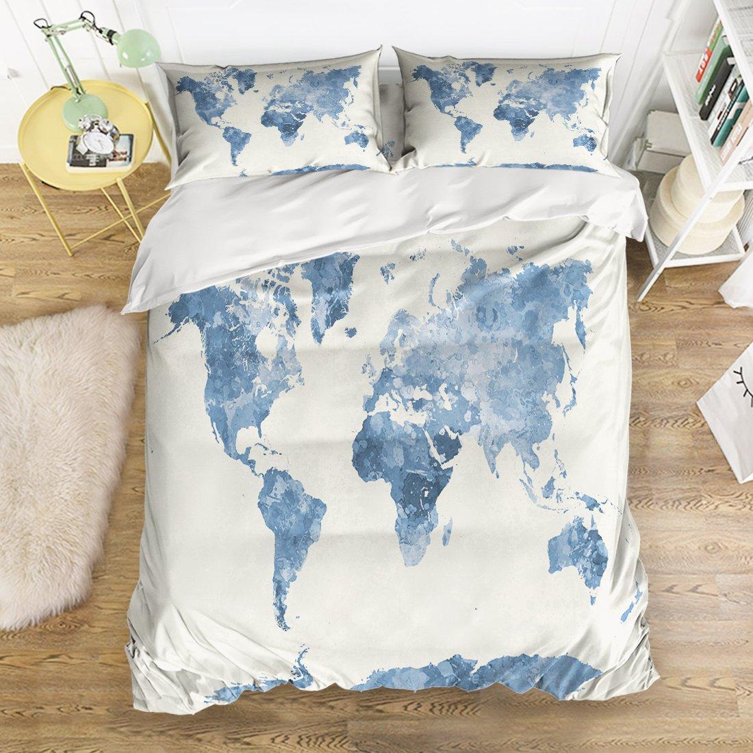 Full Size Bedding Set- World Map Duvet Cover Set Bedspread for Childrens/Kids/Teens/Adults, 4 Piece
