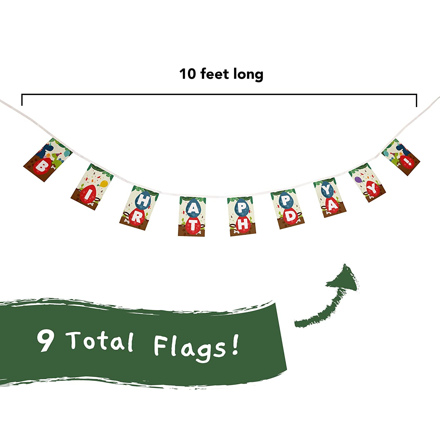 Dinosaur Themed Fiesta Flags Pennant Banner 10 Feet Long 9 Mini Flags Made of Polyester Cloth Birthday Party Decorations Bunting For Boys Girls