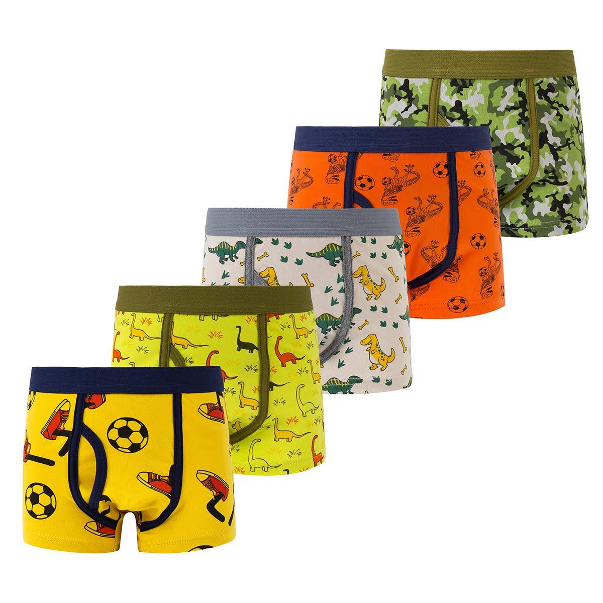 B.GKAKA Boys Boxer Briefs Toddler Kids Underwear Soft Cotton 5 Pack