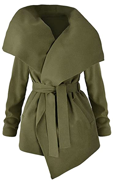 Amazon.com: ECOWISH Womens Winter Lapel Long Sleeve Jacket Long ...