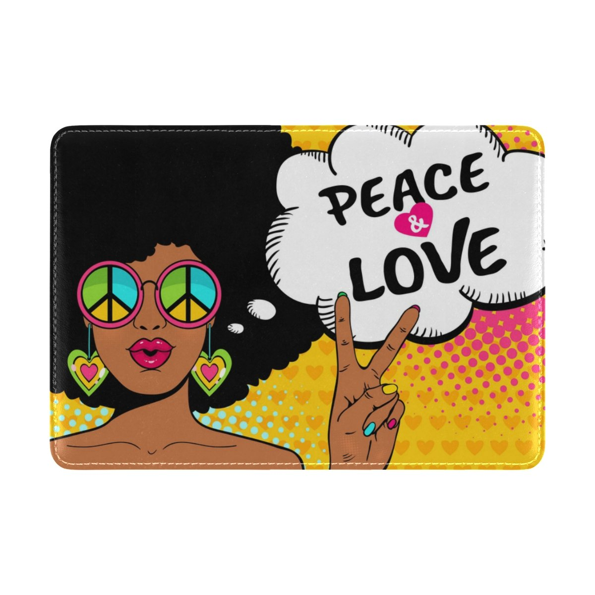 Cooper girl Afriacn Woman Peace And Love Passport Cover Holder Case Leather Protector for Men Women Kid