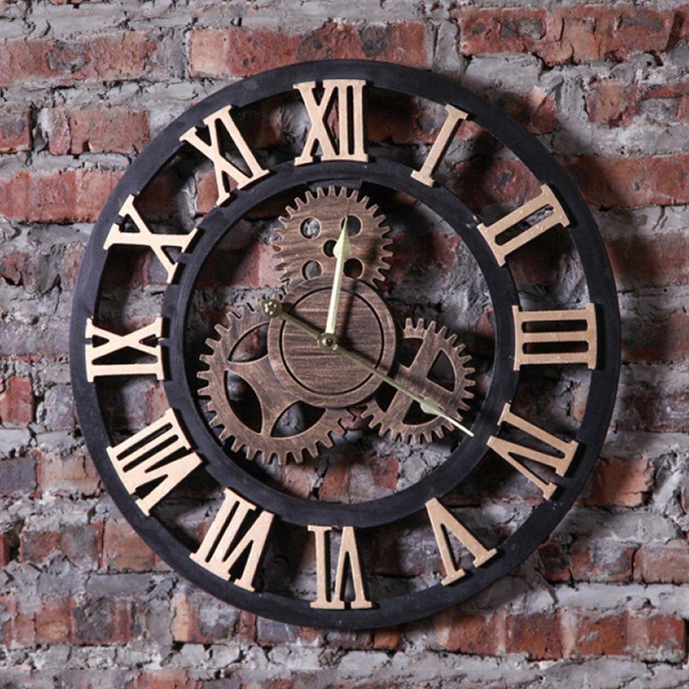 LF Retro Wanduhr Loft Industrial Style römische Ziffer Getriebe Wandhalterung Uhr für Wohnzimmer, Cafe (19,5 * 0,6 * 19,5 Zoll) Halterung Uhr (Farbe : Gold)