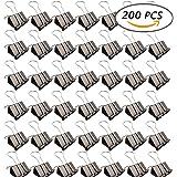 Selizo 200 Pcs Black Binder Clips, 15mm