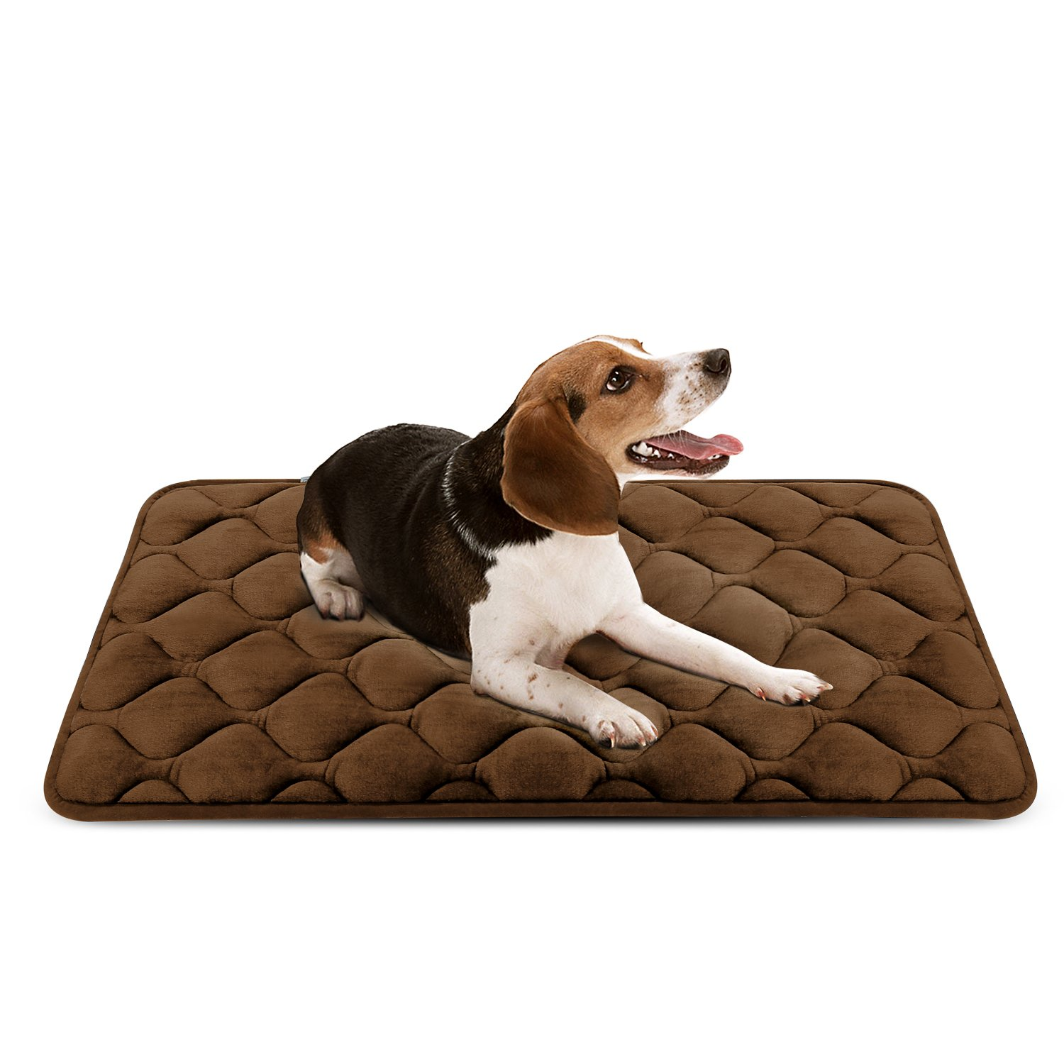 Dog Bed Mat Washable - Soft Fleece Crate Pad - Anti-Slip Matress Small Medium Large Pets (Coffee M) HeroDog