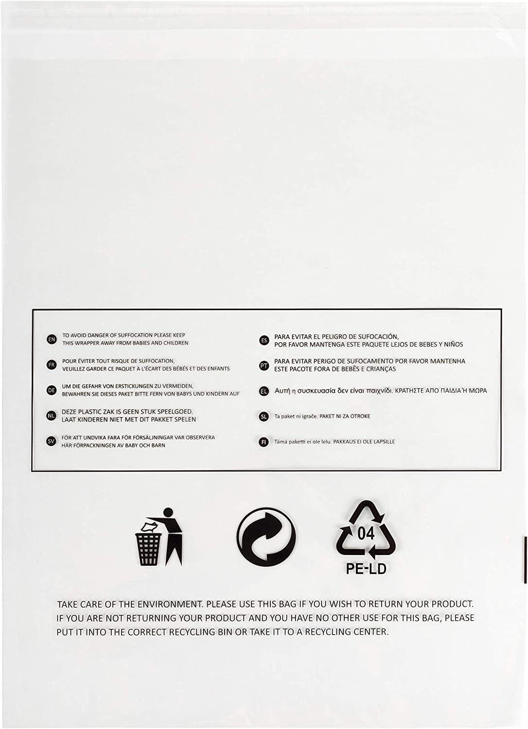250 x Clear Poly Bags with Suffocation Warning for Fulfillment 250 Polybags - 11x15
