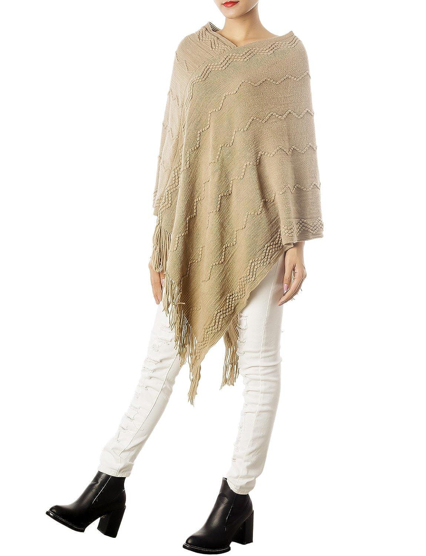 iB-iP Women'S Wrap Blanket Thermal Wavy Stripes Knitting Knee-Long Poncho Cape