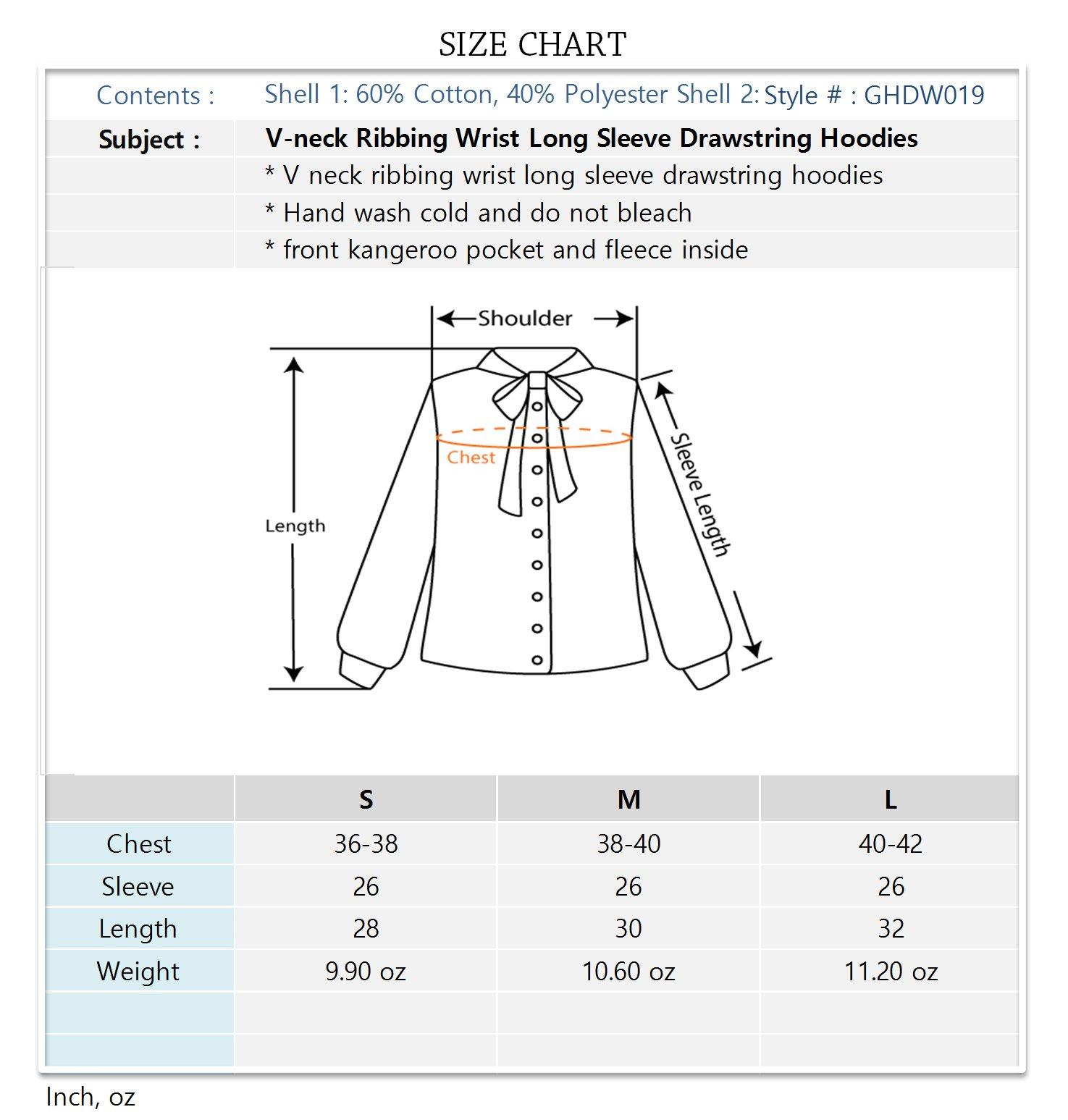 V-neck Ribbing Wrist Long Sleeve Drawstring Hoodies White Large by Luna Flower (Image #5)
