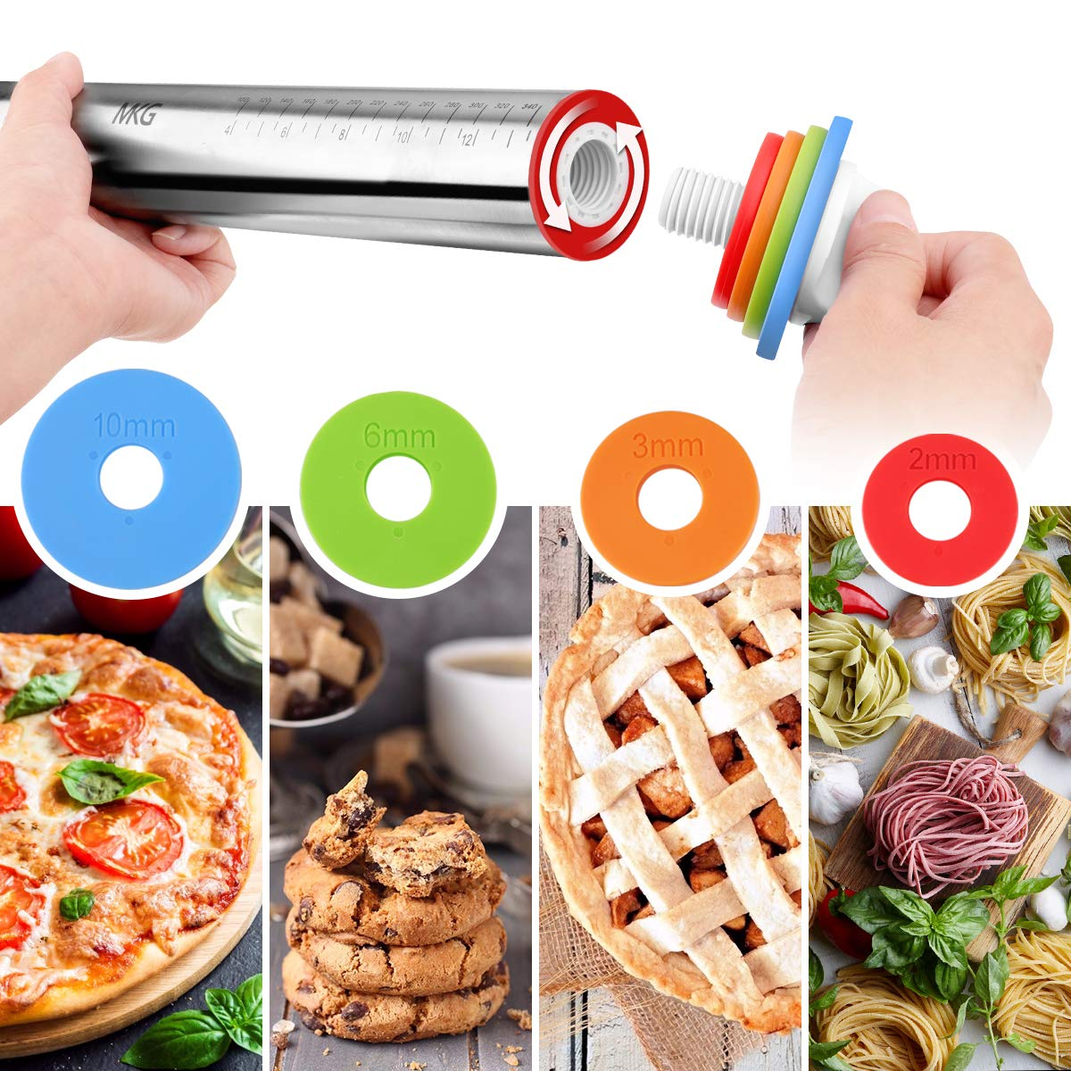 Rolling Pin, MKG Adjustable Roller Pin with Silicone Baking Mat, 4 Removable Thickness Rings for Baking Dough, Pizza, Pie, Pastries, Pasta and Cookies, Stainless Steel