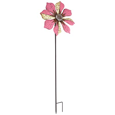 Regal Art & Gift 12295 Rustic Flower Pink Wind Spinner: Garden & Outdoor